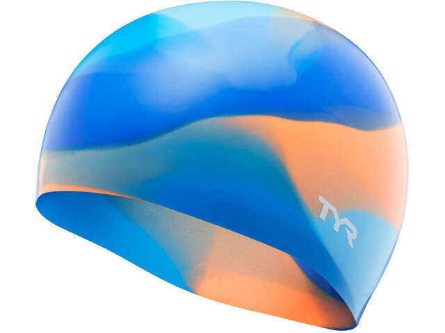 TYR Tie Dye Bonnet de bain en silicone Enfant, blue/orange